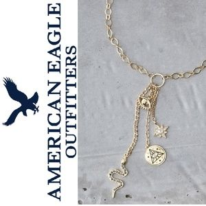 American Eagle Gold Metal Evil Eye Charm Necklace